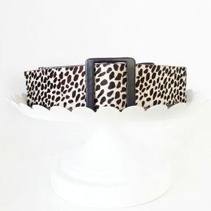 Ann Taylor Cheetah Calf Hair Leather Elastic belt